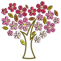 Tree With Flower Leaves Applique Machine Embroidery Design Digitized Pattern