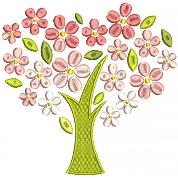 Tree With Flower Leaves Filled Machine Embroidery Design Digitized Pattern