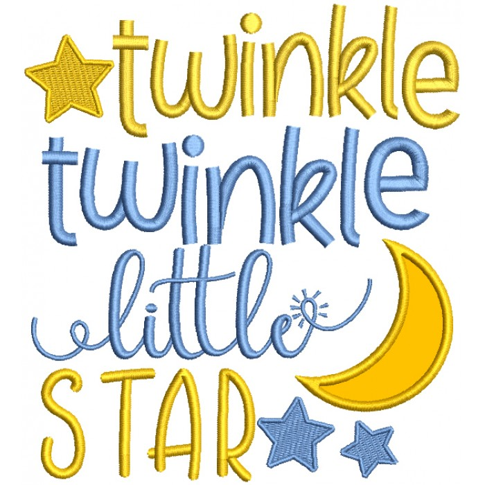 Twinkle Twinkle Little Star Children Rhymes Applique Machine Embroidery Design Digitized Pattern