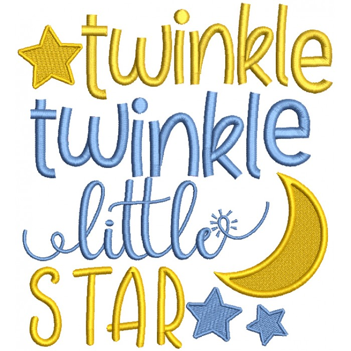 Twinkle Twinkle Little Star Children Rhymes Filled Machine Embroidery Design Digitized Pattern