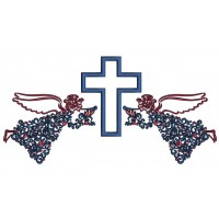 Two Angels And a Cross Ornate Religious Applique Machine Embroidery Design Digitized Pattern