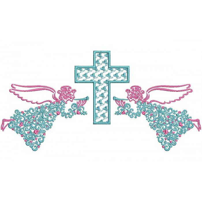 Two Angels And a Cross Ornate Religious Filled Machine Embroidery Design Digitized Pattern
