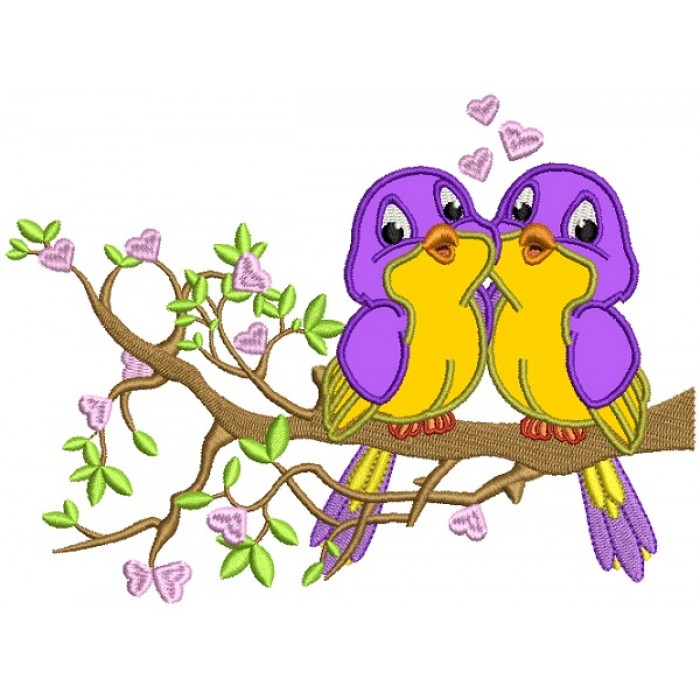 Two Birds In Love Sitting On A Branch With Hearts Applique Machine