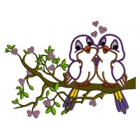 Two Birds In Love Sitting On A Branch With Hearts Applique Machine Embroidery Design Digitized Pattern