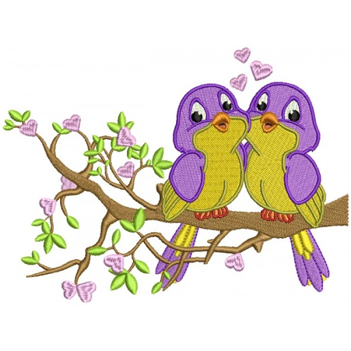 Two Birds In Love Sitting On A Branch With Hearts Filled Machine