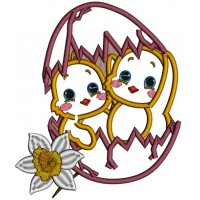Two Chicks Inside Egg Easter Applique Machine Embroidery Design Digitized