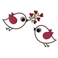 Two Cute Little Birds With a Branch Applique Machine Embroidery Design Digitized Pattern