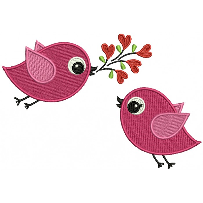 Two Cute Little Birds With a Branch Filled Machine Embroidery Design Digitized Pattern