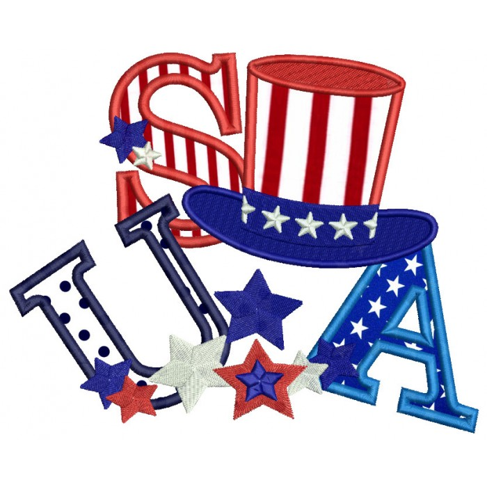 USA Hat Stars and Stripes Applique  Machine Embroidery Design Digitized Pattern