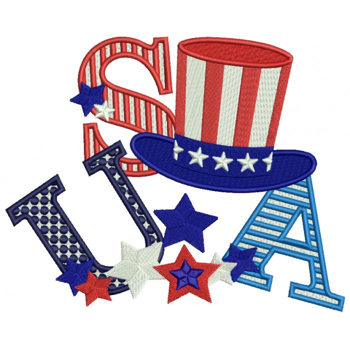 USA Hat Stars and Stripes Filled Machine Embroidery Design Digitized Pattern