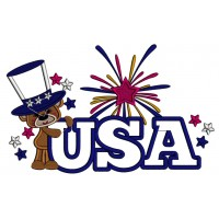 USA Little Bear Wearing a Big American Hat Patriotic Applique Machine Embroidery Design Digitized Pattern