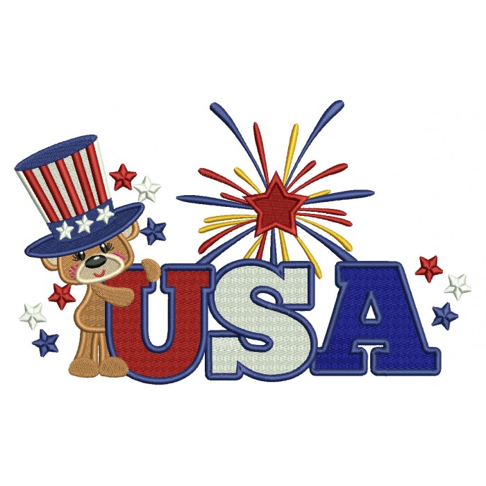 USA Little Bear Wearing a Big American Hat Patriotic Filled Machine Embroidery Design Digitized Pattern