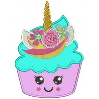 Unicorn Cupcake Applique Machine Embroidery Design Digitized Pattern