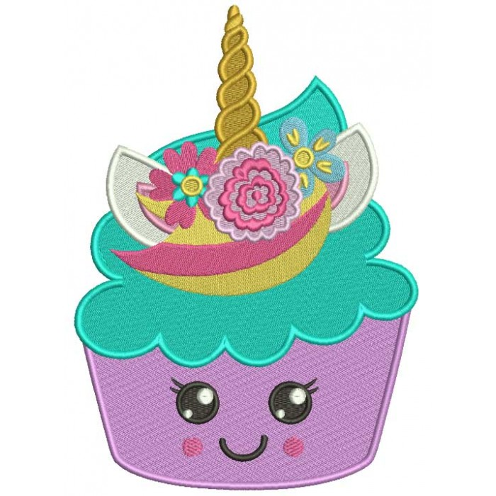 Unicorn Cupcake Filled Machine Embroidery Design Digitized Pattern