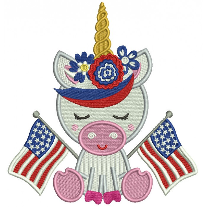 Unicorn Holding American Flags Filled Machine Embroidery Design Digitized Pattern