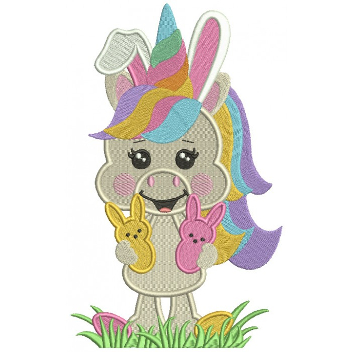 Unicorn Holding Two Easter Bunnies Filled Machine Embroidery Design Digitized Pattern