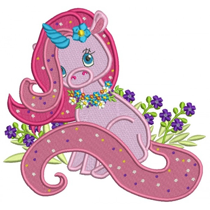 Unicorn With Flowers Filled Machine Embroidery Design Digitized Pattern