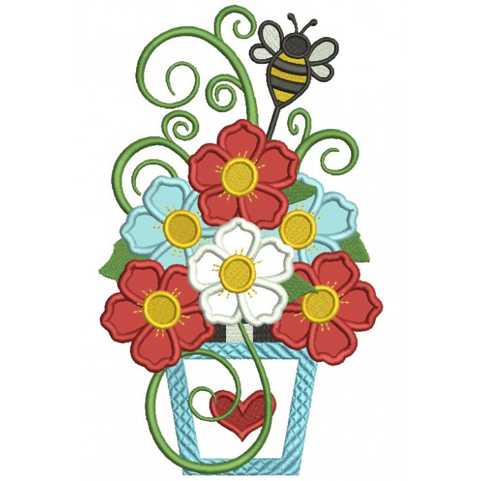 Vase With Beautiful Flowers And The Bee Applique Machine Embroidery Design Digitized Pattern