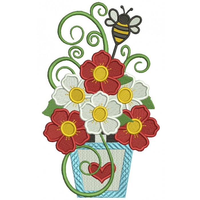 Vase With Beautiful Flowers And The Bee Filled Machine Embroidery Design Digitized Pattern