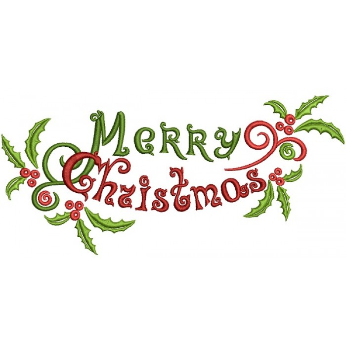 Whimsical Merry Christmas Filled Machine Embroidery Design Digitized Pattern