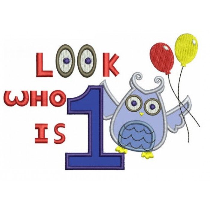 1st (First) Birthday Owl Applique with balloons - Instant Download Machine Embroidery design - three sizes to fit 4x4 , 5x7, and 6x10 hoops