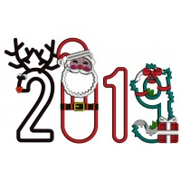 2019 Santa And Reindeer New Year Applique Machine Embroidery Design Digitized Pattern