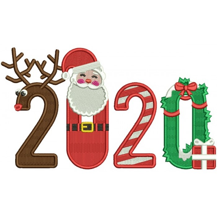 2020 Happy New Year Santa Filled Machine Embroidery Design Digitized Pattern