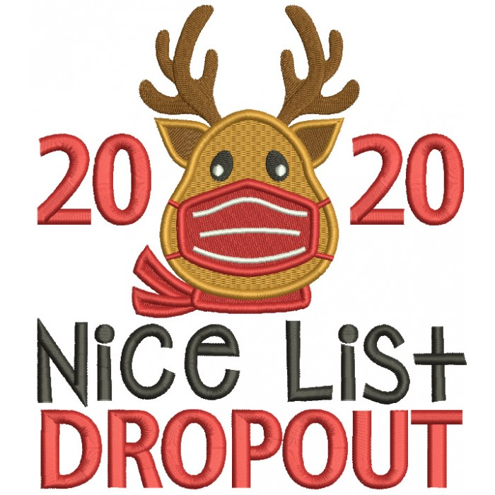 2020 Nice List Dropout New Year Filled Machine Embroidery Design Digitized Pattern