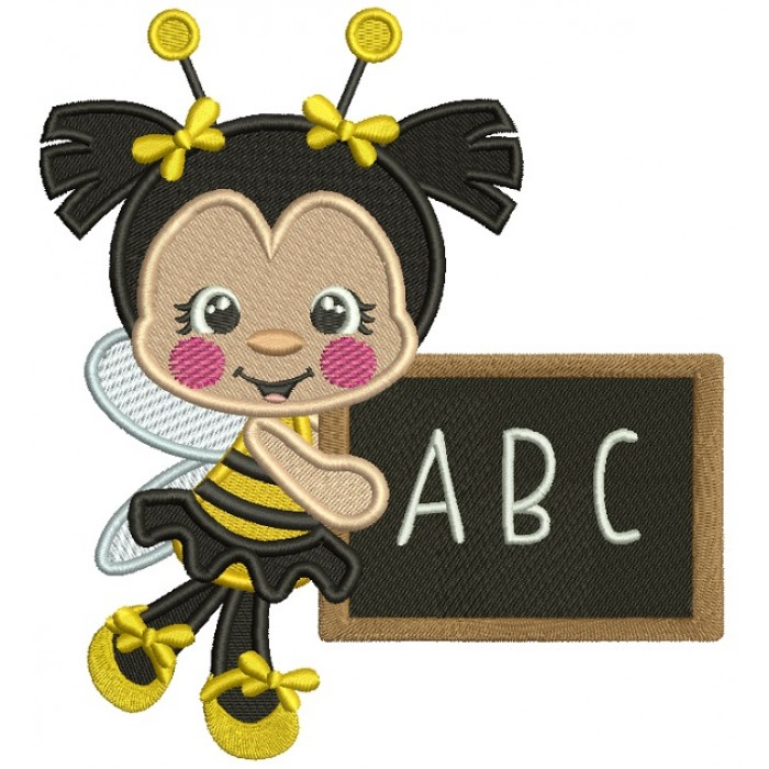 ABC Cute Little Bee School Filled Machine Embroidery Design Digitized Pattern