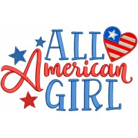All American Girl With Heart Patriotic Applique Machine Embroidery Design Digitized Pattern