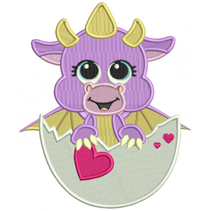 Baby Dragon Inside An Egg Holding a Heart Filled Machine Embroidery Design Digitized Pattern