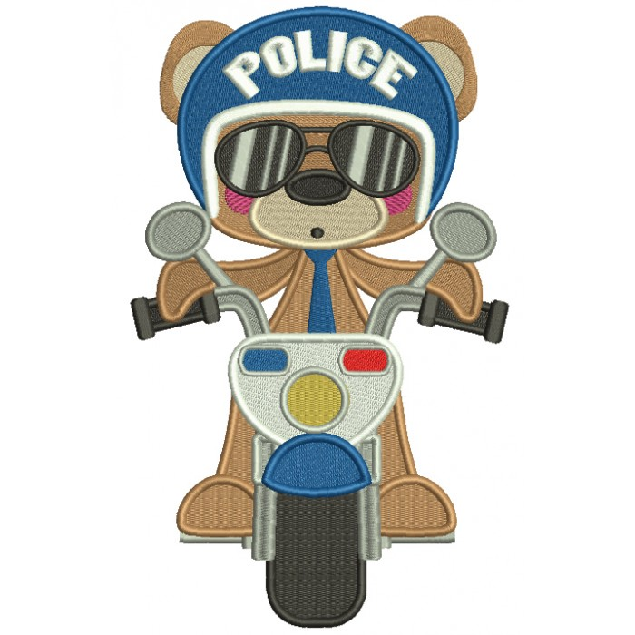 Bear Police Officer Filled Machine Embroidery Digitized Design Pattern