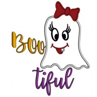 Bootiful Cute Girl Ghost Halloween Applique Machine Embroidery Design Digitized Pattern