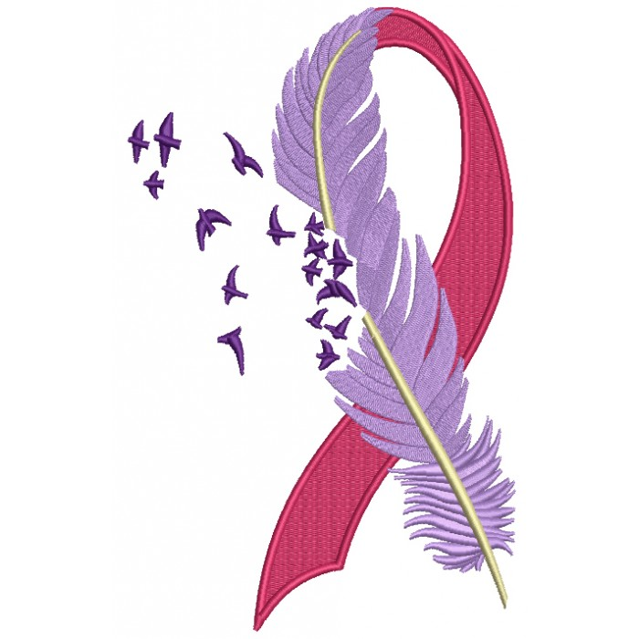 Embroider designs breast cancer ribbons