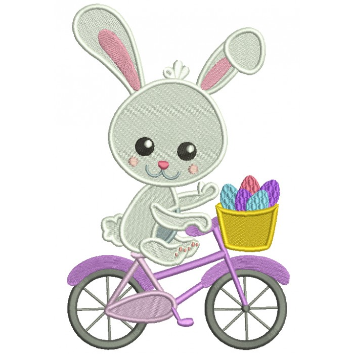 Bunny Riding a Bicycle With Basket Full Of Easter Eggs Filled Machine Embroidery Design Digitized