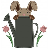 Bunny Sitting Inside Of Watering Can Easter Applique Machine Embroidery Design Digitized Pattern