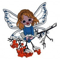 Christmas Fairy Sitting On The Branch Applique Machine Embroidery Design Digitized Pattern