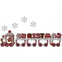 Christmas Train With Snow Flakes Applique Machine Embroidery Design Digitized Pattern