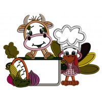 Cow And Turkey Cooking Applique Machine Embroidery Design Digitized Pattern