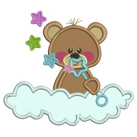 Cute Bear Sitting On The Cloud Applique Machine Embroidery Design Digitized