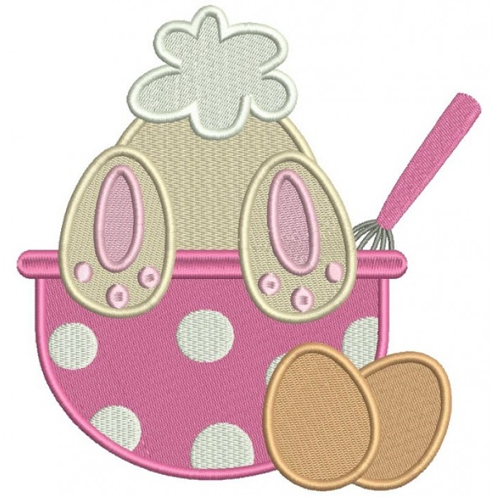 Cute Bunny Leaning Over The Cooking Bowl Filled Machine Embroidery Design Digitized Pattern