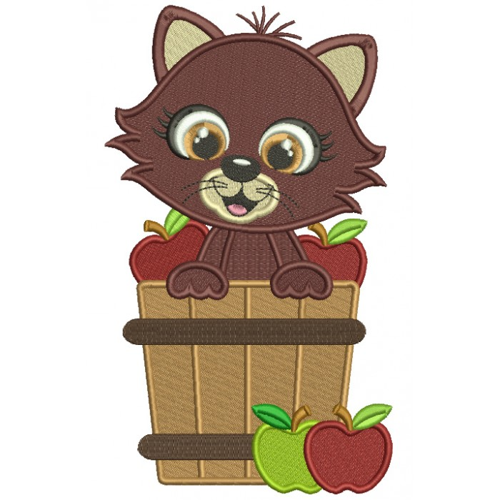 Cute Cat Sitting Inside Baskets With Apples Fall Filled Thanksgiving Machine Embroidery Design Digitized Pattern