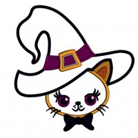 Cute Cat Wearing a Witch Hat Halloween Applique Machine Embroidery Design Digitized Pattern