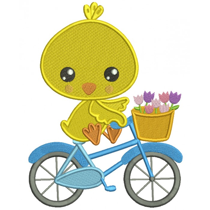 Cute Chick Riding a Bicycle Easter Filled Machine Embroidery Design Digitized Pattern