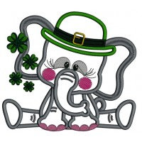 Cute Elephant Wearing St. Patrick's Day Hat Applique Machine Embroidery Design Digitized