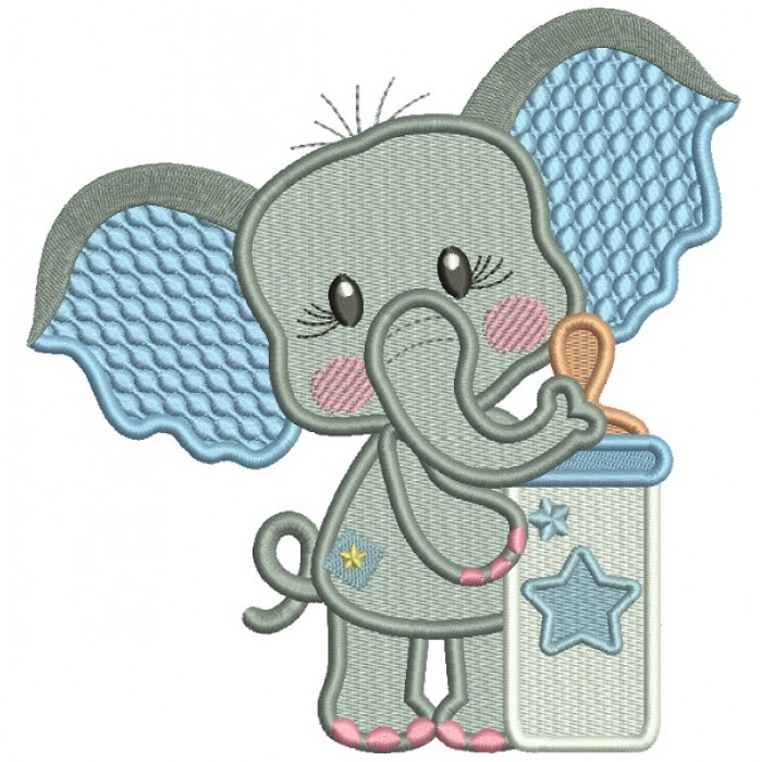 Cute Elephant With Baby Bottle Filled Machine Embroidery Design Digitized Pattern