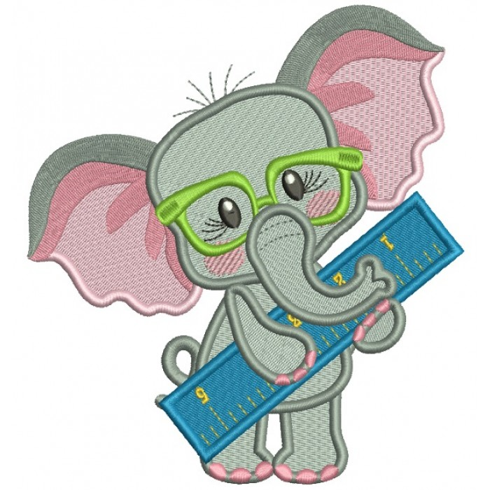 Cute Elephant With a Ruler Back To School Filled Machine Embroidery Design Digitized Pattern