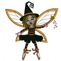 Cute Fairy Witch Halloween Applique Machine Embroidery Design Digitized Pattern