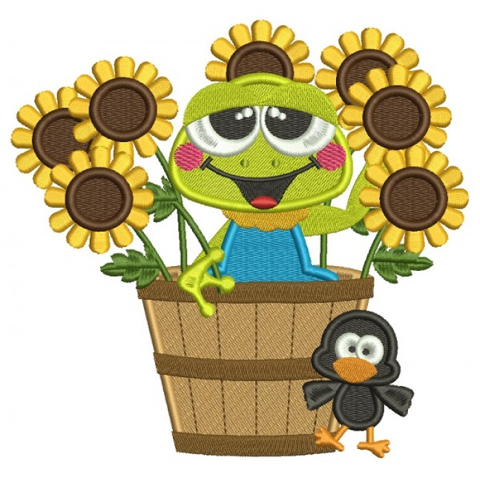 Cute Frog Sitting In The Pot With Sunflowers Fall Filled Machine Embroidery Design Digitized Pattern