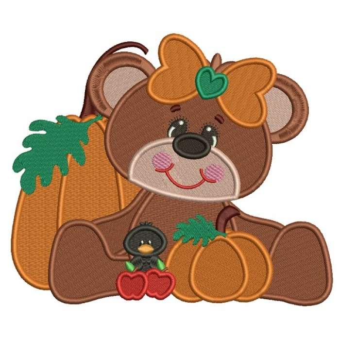 Cute Girl Bear WIth Pumpkin And a Little Crow Filled Machine Embroidery Design Digitized Pattern